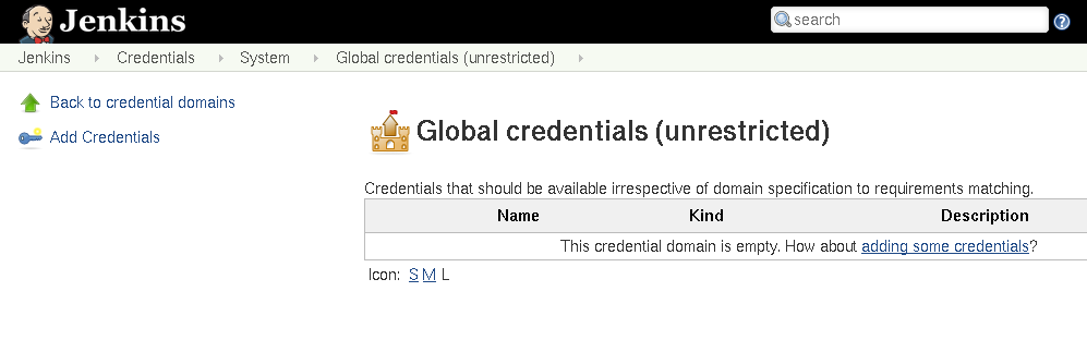 Adding credentials to Jenkins